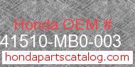 Honda 41510-MB0-003 genuine part number image