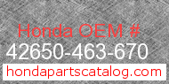 Honda 42650-463-670 genuine part number image