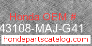 Honda 43108-MAJ-G41 genuine part number image