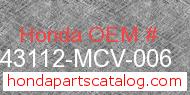 Honda 43112-MCV-006 genuine part number image