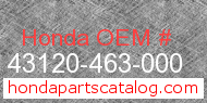 Honda 43120-463-000 genuine part number image