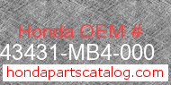 Honda 43431-MB4-000 genuine part number image
