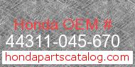 Honda 44311-045-670 genuine part number image
