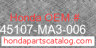 Honda 45107-MA3-006 genuine part number image