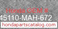 Honda 45110-MAH-672 genuine part number image