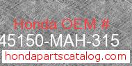 Honda 45150-MAH-315 genuine part number image
