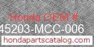 Honda 45203-MCC-006 genuine part number image