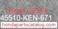 Honda 45510-KEN-671 genuine part number image