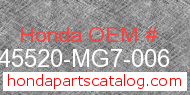 Honda 45520-MG7-006 genuine part number image