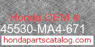 Honda 45530-MA4-671 genuine part number image