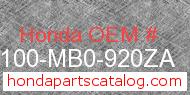 Honda 50100-MB0-920ZA genuine part number image