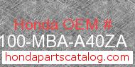 Honda 50100-MBA-A40ZA genuine part number image