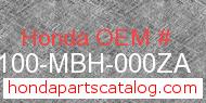 Honda 50100-MBH-000ZA genuine part number image