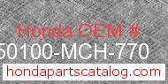 Honda 50100-MCH-770 genuine part number image