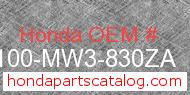 Honda 50100-MW3-830ZA genuine part number image