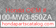 Honda 50100-MW3-850ZA genuine part number image