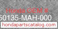 Honda 50135-MAH-000 genuine part number image