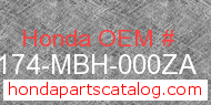 Honda 50174-MBH-000ZA genuine part number image