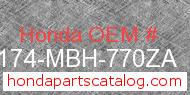 Honda 50174-MBH-770ZA genuine part number image