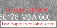 Honda 50178-MBA-000 genuine part number image