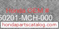 Honda 50201-MCH-000 genuine part number image