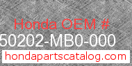 Honda 50202-MB0-000 genuine part number image
