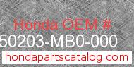 Honda 50203-MB0-000 genuine part number image