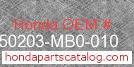 Honda 50203-MB0-010 genuine part number image