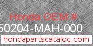 Honda 50204-MAH-000 genuine part number image