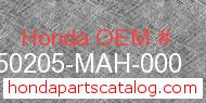Honda 50205-MAH-000 genuine part number image