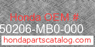 Honda 50206-MB0-000 genuine part number image