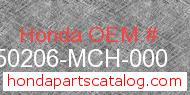 Honda 50206-MCH-000 genuine part number image