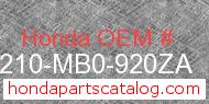 Honda 50210-MB0-920ZA genuine part number image