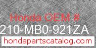 Honda 50210-MB0-921ZA genuine part number image