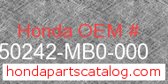 Honda 50242-MB0-000 genuine part number image