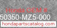 Honda 50350-MZ5-000 genuine part number image