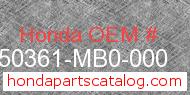 Honda 50361-MB0-000 genuine part number image
