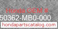 Honda 50362-MB0-000 genuine part number image