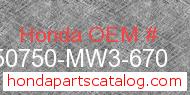 Honda 50750-MW3-670 genuine part number image