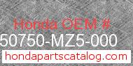 Honda 50750-MZ5-000 genuine part number image