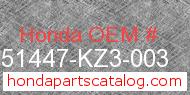 Honda 51447-KZ3-003 genuine part number image