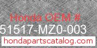 Honda 51517-MZ0-003 genuine part number image