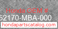 Honda 52170-MBA-000 genuine part number image