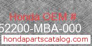 Honda 52200-MBA-000 genuine part number image