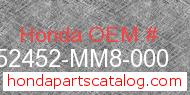 Honda 52452-MM8-000 genuine part number image
