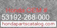 Honda 53192-268-000 genuine part number image