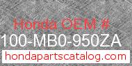 Honda 61100-MB0-950ZA genuine part number image