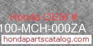 Honda 61100-MCH-000ZA genuine part number image
