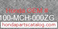 Honda 61100-MCH-000ZG genuine part number image