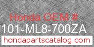 Honda 61101-ML8-700ZA genuine part number image